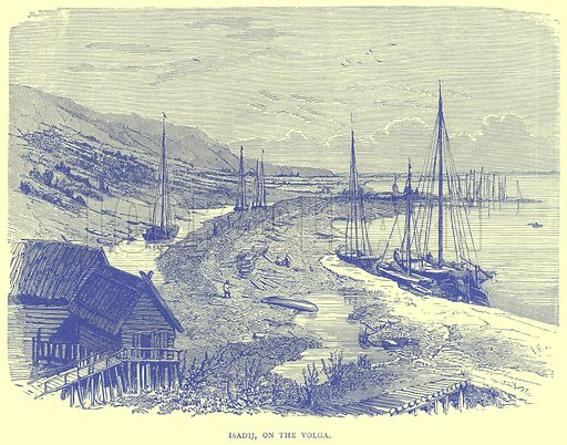Isadij, on the Volga. Illustration from Illustrated Travels edited by H W Bates (Cassell, c 1880).