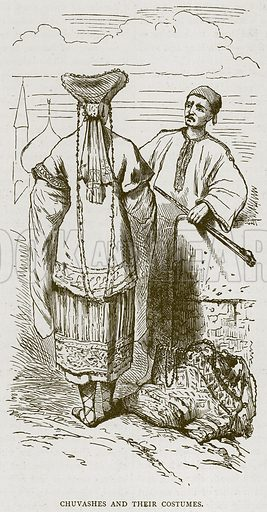 Chuvashes and their Costumes. Illustration from Illustrated Travels edited by H W Bates (Cassell, c 1880).