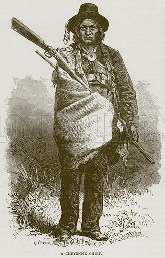 A Cheyenne Chief. Illustration from Illustrated Travels edited by H W Bates (Cassell, c 1880).