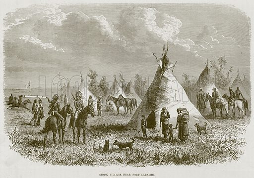 Sioux Village near Fort Laramie. Illustration from Illustrated Travels edited by HW Bates (Cassell, c 1880).