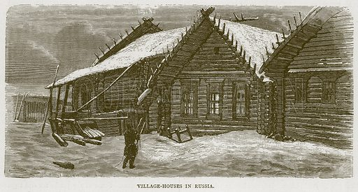 Village-Houses in Russia. Illustration from Illustrated Travels edited by H W Bates (Cassell, c 1880).