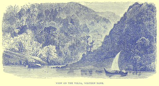 View on the Volga, Western Bank. Illustration from Illustrated Travels edited by H W Bates (Cassell, c 1880).