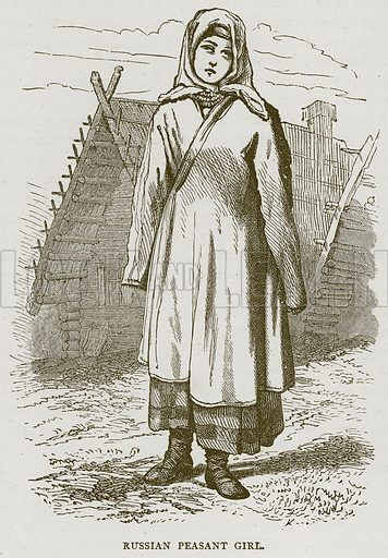 Russian Peasant Girl. Illustration from Illustrated Travels edited by HW Bates (Cassell, c 1880).