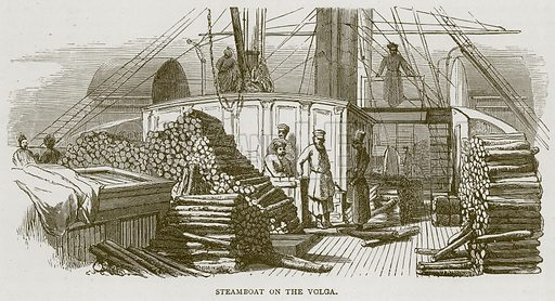 Steamboat on the Volga. Illustration from Illustrated Travels edited by H W Bates (Cassell, c 1880).
