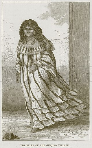 The Belle of the Guajiro Village. Illustration from Illustrated Travels edited by H W Bates (Cassell, c 1880).