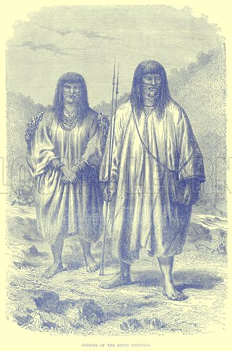 Indians of the River Pachitea. Illustration from Illustrated Travels edited by H W Bates (Cassell, c 1880).