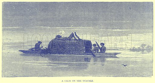 A Calm on the Ucayali. Illustration from Illustrated Travels edited by H W Bates (Cassell, c 1880).