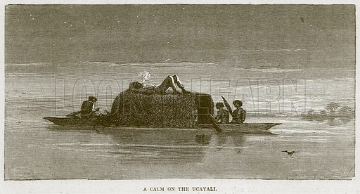 A Calm on the Ucayali. Illustration from Illustrated Travels edited by HW Bates (Cassell, c 1880).