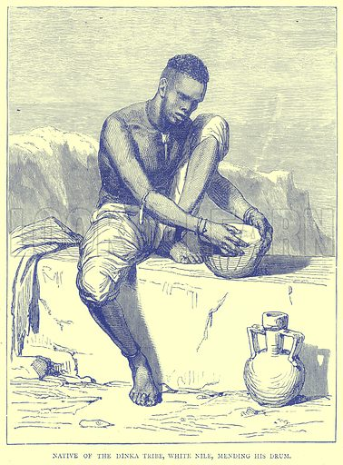 Native of the Dinka Tribe, White Nile, Mending his Drum. Illustration from Illustrated Travels edited by H W Bates (Cassell, c 1880).