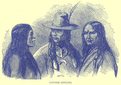 Pawnee Indians. Illustration from Illustrated Travels edited by H W Bates (Cassell, c 1880).