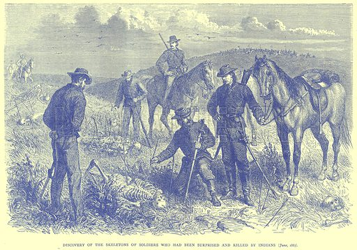Discovery of the Skeletons of Soldiers who had been surprised and Killed by Indians (June, 1867). Illustration from Illustrated Travels edited by H W Bates (Cassell, c 1880).
