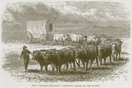 """The """"Prairie Schooner"""" – Emigrant Wagon on the Plains. Illustration from Illustrated Travels edited by HW Bates (Cassell, c 1880)."""