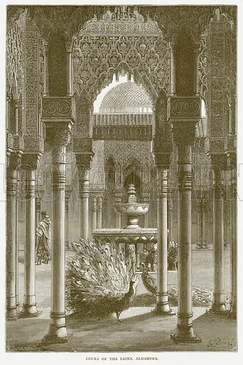 Court of the Lions, Alhambra. Illustration from Illustrated Travels edited by HW Bates (Cassell, c 1880).