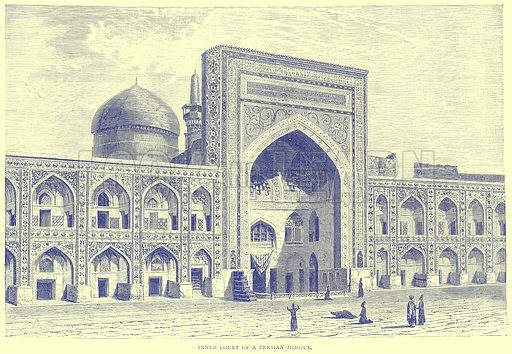 Inner Court of a Persian Mosque. Illustration from Illustrated Travels edited by H W Bates (Cassell, c 1880).