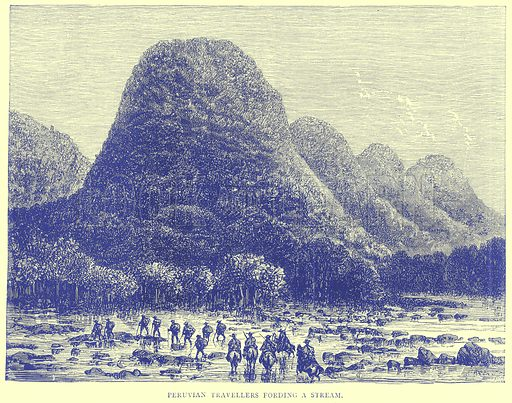 Peruvian Travellers Fording a Stream. Illustration from Illustrated Travels edited by H W Bates (Cassell, c 1880).