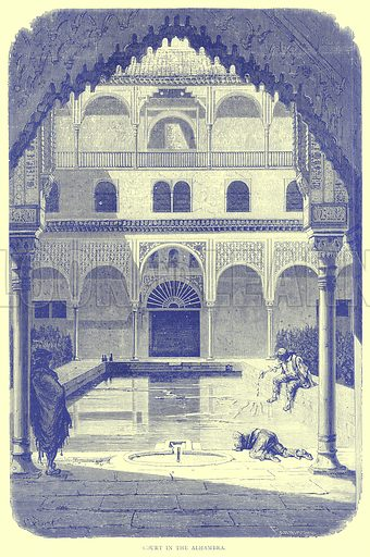Court in the Alhambra. Illustration from Illustrated Travels edited by H W Bates (Cassell, c 1880).