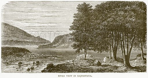 River View in Rajpootana. Illustration from Illustrated Travels edited by H W Bates (Cassell, c 1880).