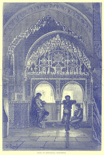 Hall of Lindaraja, Alhambra. Illustration from Illustrated Travels edited by H W Bates (Cassell, c 1880).