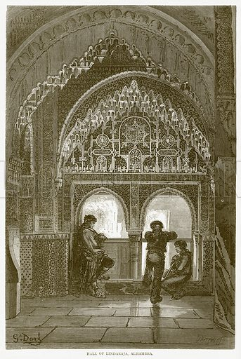 Hall of Lindaraja, Alhambra. Illustration from Illustrated Travels edited by HW Bates (Cassell, c 1880).
