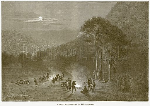 A Night Encampment on the Inambari. Illustration from Illustrated Travels edited by H W Bates (Cassell, c 1880).