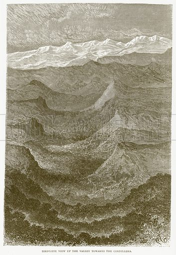 Bird's-Eye View up the Valley towards the Cordillera. Illustration from Illustrated Travels edited by H W Bates (Cassell, c 1880).