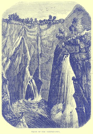 Falls of the Vorings-Foss. Illustration from Illustrated Travels edited by H W Bates (Cassell, c 1880).