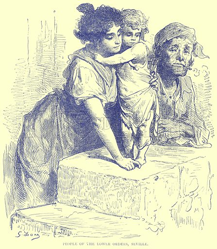 People of the Lower Orders, Seville. Illustration from Illustrated Travels edited by H W Bates (Cassell, c 1880).