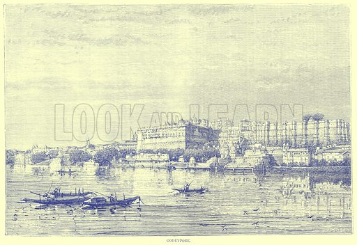 Oodeypore. Illustration from Illustrated Travels edited by H W Bates (Cassell, c 1880).