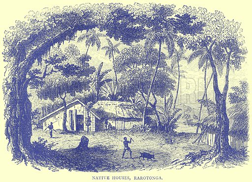 Native Houses, Rarotonga. Illustration from Illustrated Travels edited by H W Bates (Cassell, c 1880).
