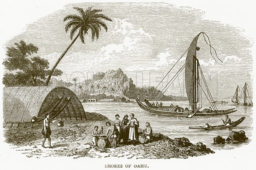 Shores of Oahu. Illustration from Illustrated Travels edited by H W Bates (Cassell, c 1880).