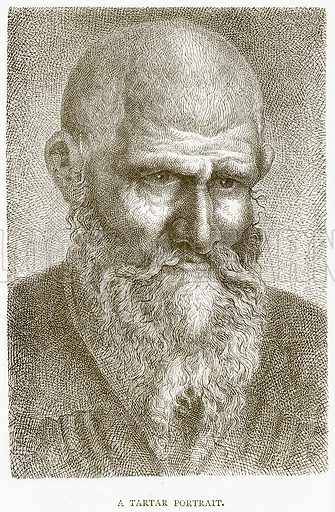 A Tartar Portrait. Illustration from Illustrated Travels edited by H W Bates (Cassell, c 1880).
