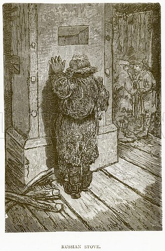 Russian Stove. Illustration from Illustrated Travels edited by HW Bates (Cassell, c 1880).