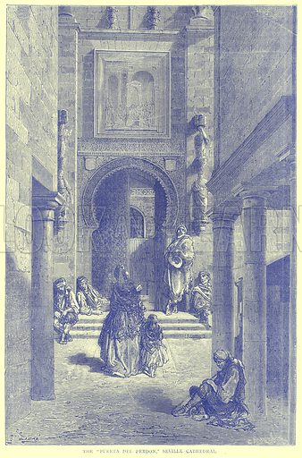 """The """"Puerta del Perdon,"""" Seville Cathedral. Illustration from Illustrated Travels edited by H W Bates (Cassell, c 1880)."""
