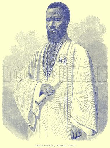 Native Official, Western Africa. Illustration from Illustrated Travels edited by H W Bates (Cassell, c 1880).