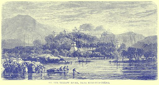 On the Yellow River, near Kuei-hua-Cheng. Illustration from Illustrated Travels edited by H W Bates (Cassell, c 1880).
