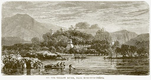 On the Yellow River, near Kuei-hua-Cheng. Illustration from Illustrated Travels edited by HW Bates (Cassell, c 1880).