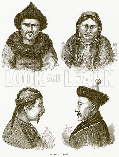 Mongol Types. Illustration from Illustrated Travels edited by H W Bates (Cassell, c 1880).