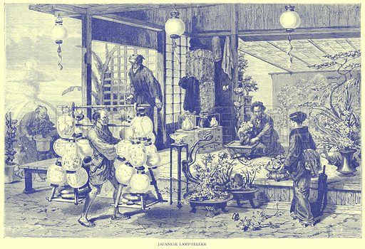 Japanese Lamp-Seller. Illustration from Illustrated Travels edited by H W Bates (Cassell, c 1880).