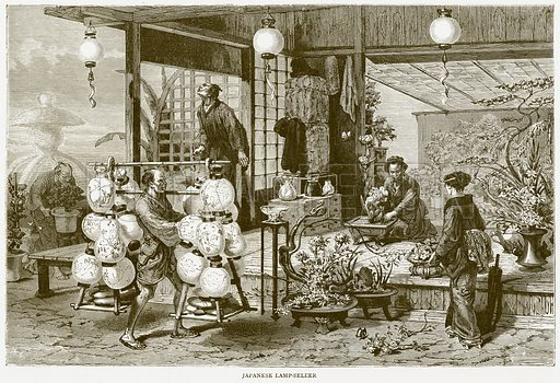 Japanese Lamp-Seller. Illustration from Illustrated Travels edited by HW Bates (Cassell, c 1880).