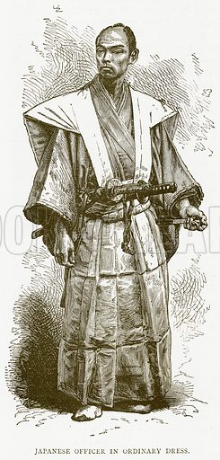 Japanese Officer in Ordinary Dress. Illustration from Illustrated Travels edited by HW Bates (Cassell, c 1880).