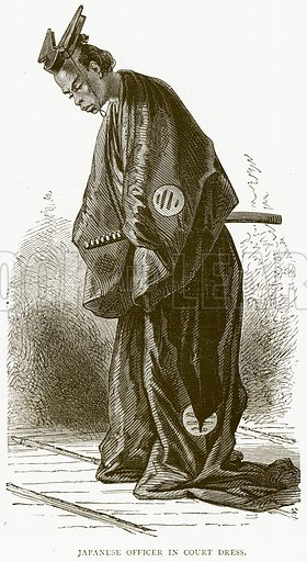 Japanese Officer in Court Dress. Illustration from Illustrated Travels edited by HW Bates (Cassell, c 1880).
