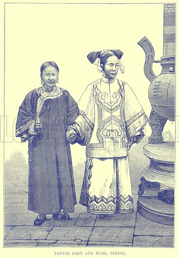 Tartar Lady and Maid, Peking. Illustration from Illustrated Travels edited by H W Bates (Cassell, c 1880).