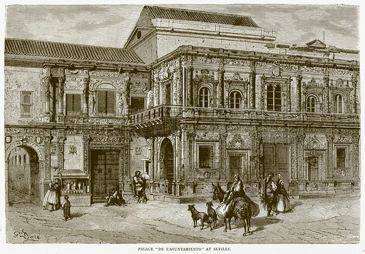 """Palace """"De L'ayuntamiento"""" at Seville. Illustration from Illustrated Travels edited by HW Bates (Cassell, c 1880)."""