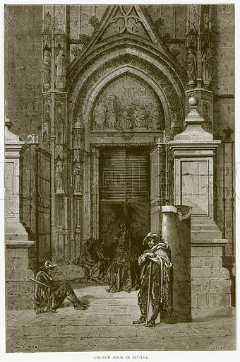Church Door in Seville. Illustration from Illustrated Travels edited by H W Bates (Cassell, c 1880).