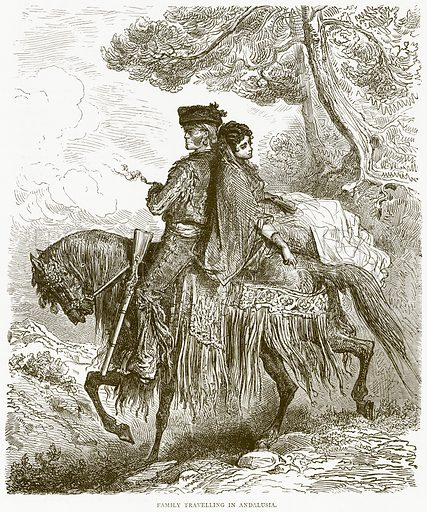 Family Travelling in Andalusia. Illustration from Illustrated Travels edited by H W Bates (Cassell, c 1880).