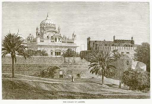 The Palace of Lahore. Illustration from Illustrated Travels edited by H W Bates (Cassell, c 1880).