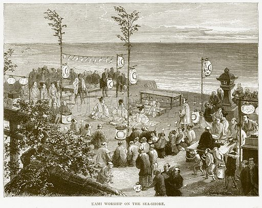 Kami Worship on the Sea-Shore. Illustration from Illustrated Travels edited by H W Bates (Cassell, c 1880).