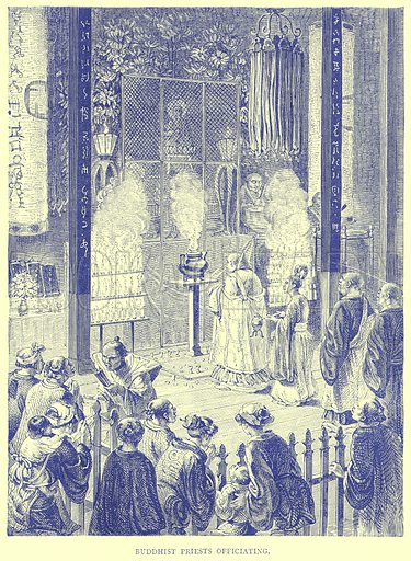 Buddhist Priests Officiating. Illustration from Illustrated Travels edited by H W Bates (Cassell, c 1880).