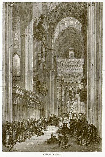 Worship in Seville. Illustration from Illustrated Travels edited by H W Bates (Cassell, c 1880).
