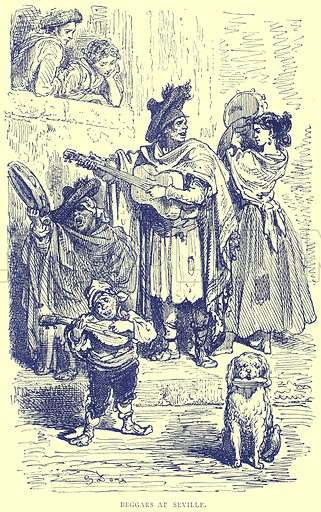 Beggars at Seville. Illustration from Illustrated Travels edited by H W Bates (Cassell, c 1880).